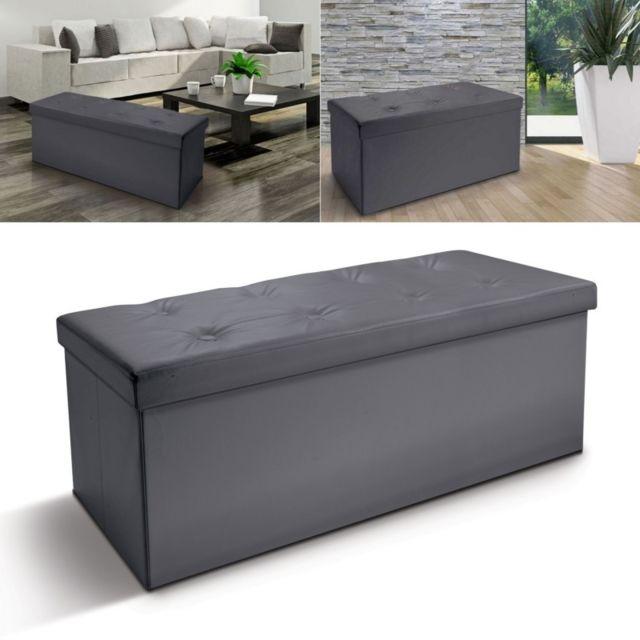 idmarket banc coffre rangement pvc gris 100x38x38 cm pliable pas cher achat vente banc de. Black Bedroom Furniture Sets. Home Design Ideas
