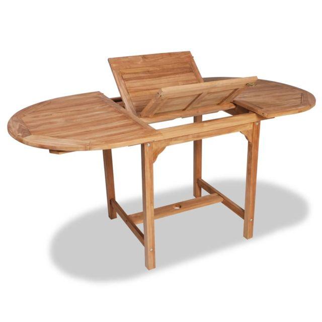 Table extensible à dîner de jardin Teck Ovale 110-160, x80x75cm