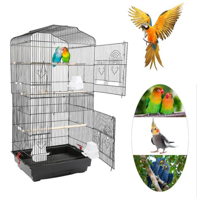 Jeobest Cage pour Oiseaux Volière de Perroquet Canaries Perruche Canaris 46 x 35.3 x 92 cm, avec 4 mangeoires, 3 perchoirs Noir