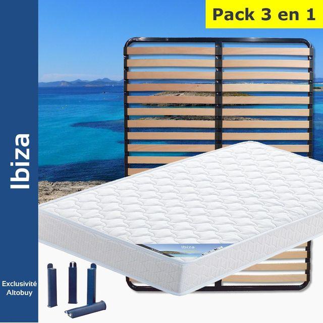 altobuy ibiza pack matelas lattes 130x190 pieds blanc 130cm x 190cm pas cher achat. Black Bedroom Furniture Sets. Home Design Ideas