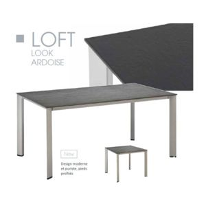 kettler table de jardin loft argent gris en aluminium et r sine l 95 x l 95 x h 74 cm pas. Black Bedroom Furniture Sets. Home Design Ideas