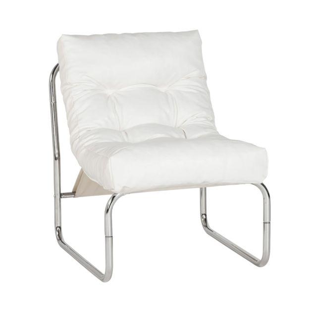 Fauteuil design 60x73x76cm Boudar blanc