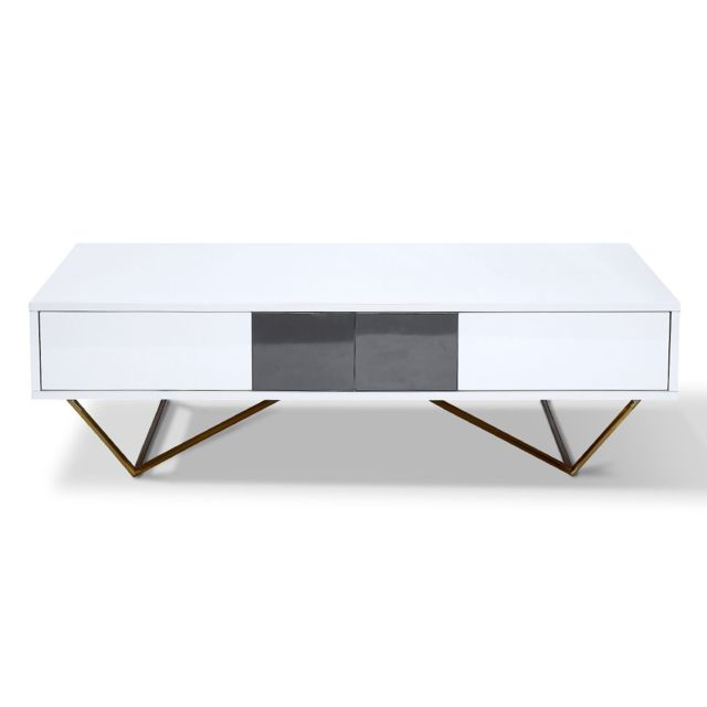 La Maison Du CanapÉ Table basse laqué/acier Jazz - Blanc/Gris/Gold - Blanc