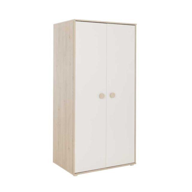 Tousmesmeubles Armoire 2 portes Blanc/Pin blanchi - Balam