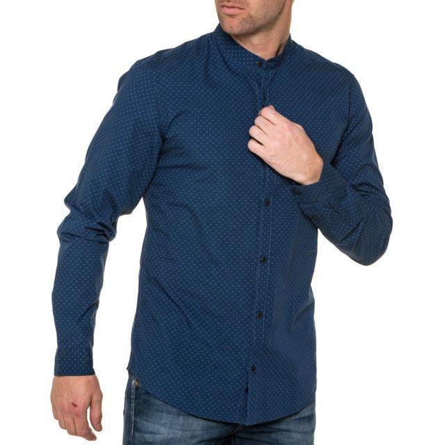 1acfbbec84d0b8 Tiffosi - Chemise homme bleu à motifs manches longues - pas cher ...