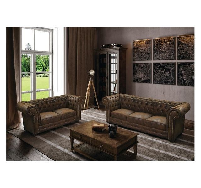 CHLOE DESIGN Canapé 2 places chesterfield CHESTERO - Marron