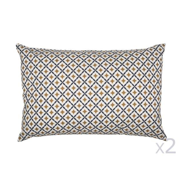 Urban Living - Lot de 2 coussins réversibles en coton 40x60cm motif losange Bleu et doré Gustav 0cm x 0cm