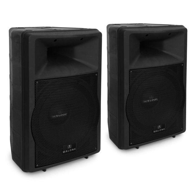MALONE Pack enceintes amplifiées 38cm 1500W max. pour DJ sono concert ABS