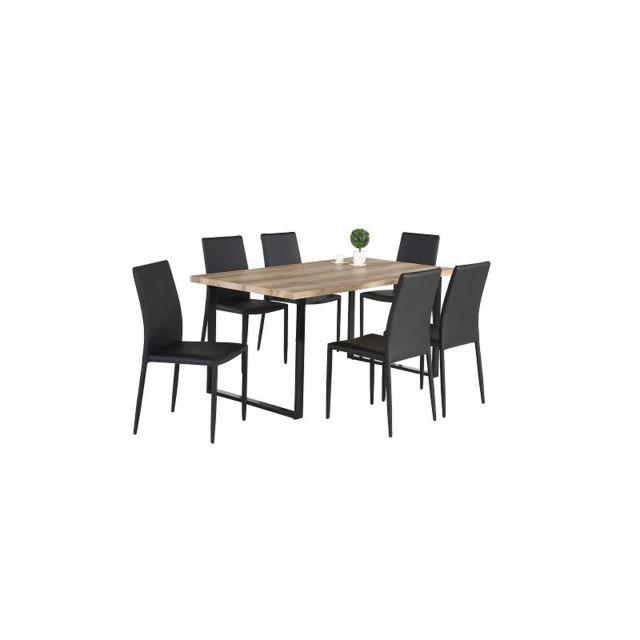 Price Factory - Ensemble 1 table David + 6 chaises Noah noires. Set ...