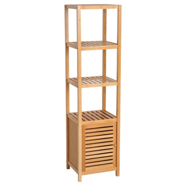Homcom meuble colonne rangement salle de bain bambou design naturel 36l x 33l x 140h cm 2 - Placard salle de bain pas cher ...