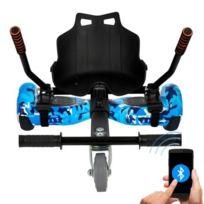 "Pack Hoverboard 6,5"" Camouflage Bleu+ Hoverkart Noir avec bluetooth sac et télécommande"