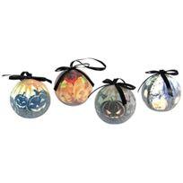 Brauns-Heitmann - Brauns Heitmann Lot De 4 Boules Led Pour Halloween 8 Cm, Noir Et Orange GivrÉ 7018 X 4 Coloris DiffÉRENTS