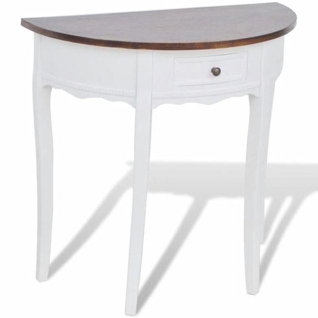 GÉNÉRIQUE Contemporain Consoles famille Palikir Table console avec tiroir et dessus de table marron Demi-ronde