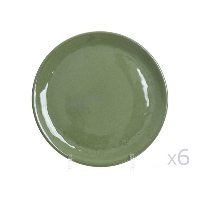 Decoris Lot de 6 assiettes à dessert en terracotta vert kaki D.24cm Sauvage