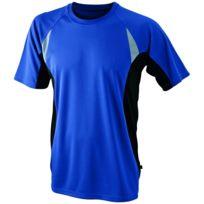 t shirt running respirant Jn391 bleu roi Homme