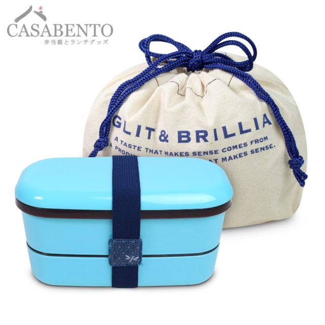 Casabento Bento Lunchbox Glit &Brillia Slim Bleue + Sac