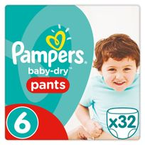 PAMPERS - Baby-Dry Pants - Taille 6 Extra Large, 16kg+ - 32 couches