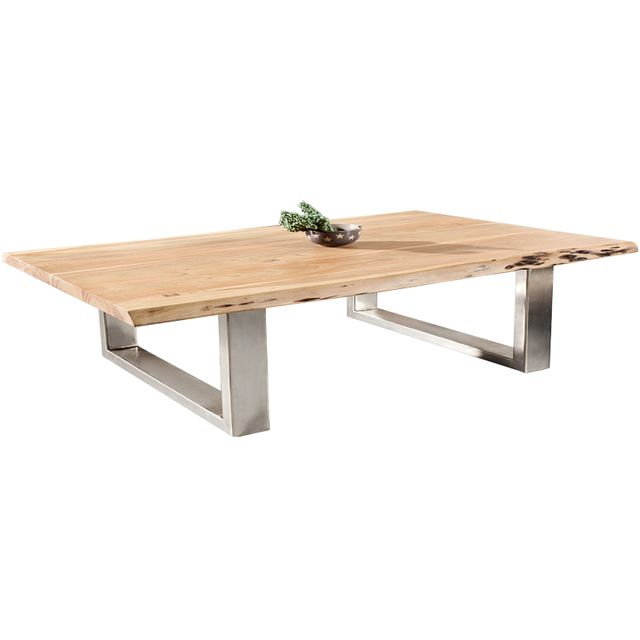 Comforium Table à manger design en bois massif d'acacia coloris naturel