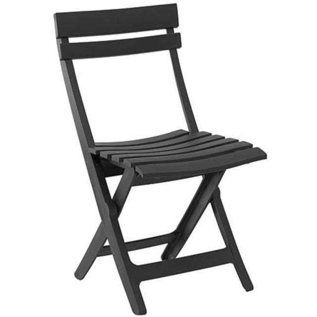 Grosfillex - Chaise Pliante Miami Anthracite - pas cher Achat ... f218f026e7c1