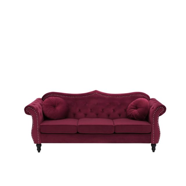 BELIANI Canapé Chesterfield 3 places en velours rouge SKIEN - rouge