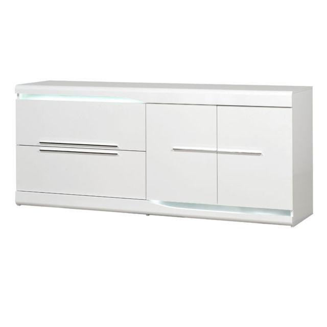 Tousmesmeubles Buffet 2 portes 2 tiroirs Blanc laqué brillant à Leds - Pesmes