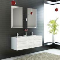 Import&DIFFUSION - Ensemble complet meuble salle de bain Eval 2 vasques 2 miroirs
