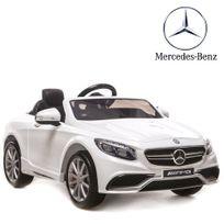 Mercedes - Voiture électrique enfant 12V enfant S63 Luxe Blanc pneu en gomme Eva
