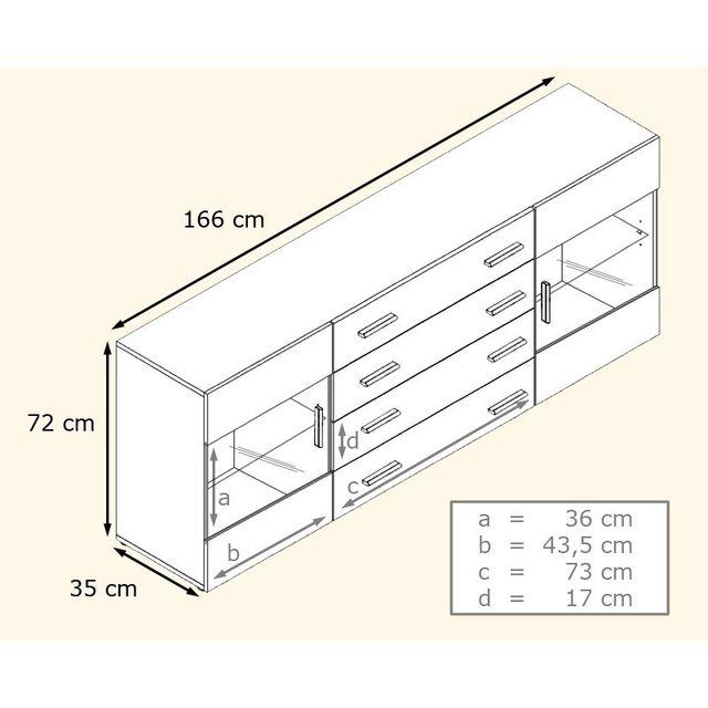 Mpc Buffet Design Blanc Mat Et Noir Laqué Avec Led Pas Cher