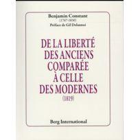 Berg International - De la liberté des anciens comparée à celle des modernes