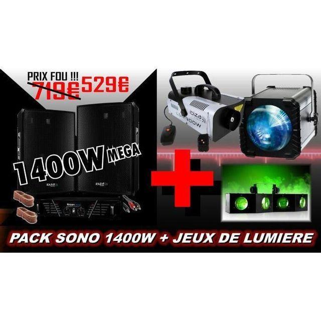 Ibiza Sound Pack sono 1400w avec jeux de lumiere dj - machine a fumee pa dj rgb