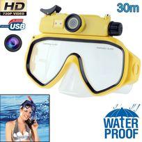 Yonis - Masque de plongée caméra Hd 720P 5MP étanche jusqu'à 30m jaune
