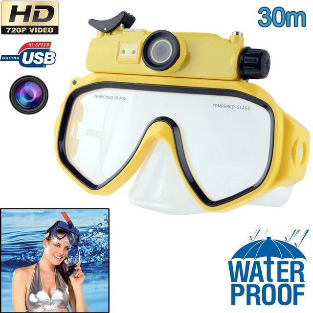 Yonis Masque de plongée caméra Hd 720P 5MP étanche jusqu'à 30m jaune