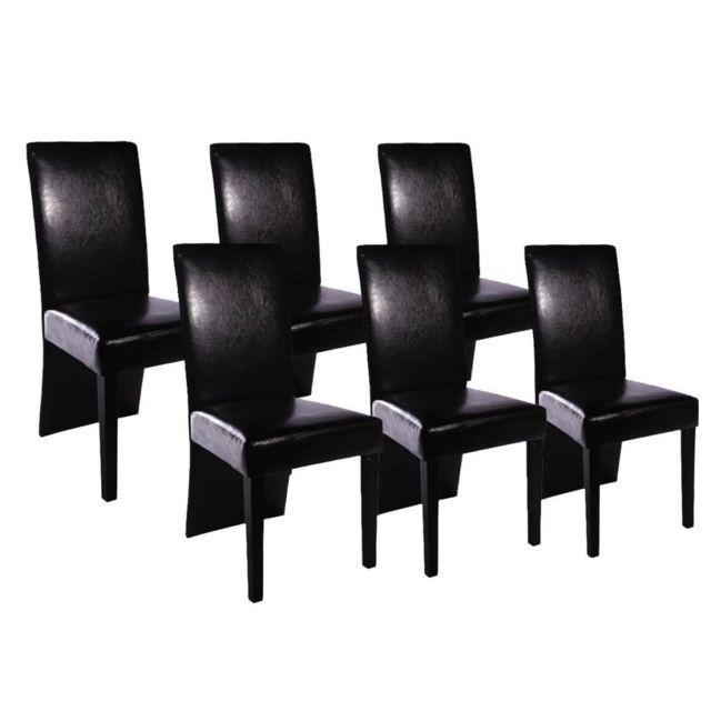 Sans Marque Chaises de salle à manger 6 pcs Cuir artificiel Noir