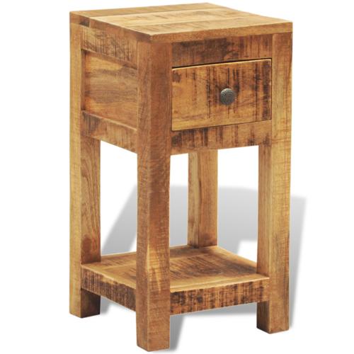 Rocambolesk Superbe Table d'appoint 1 tiroir en bois massif Neuf