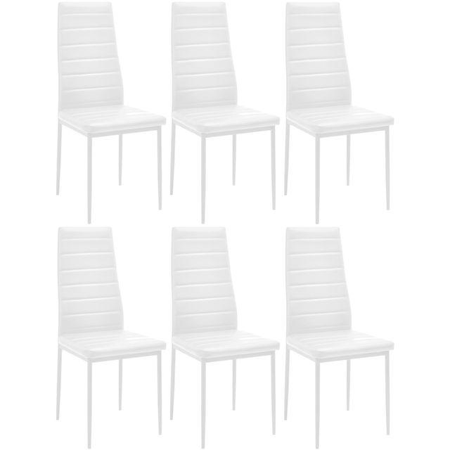 Promobo Ensemble Lot De 6 Chaise Aspect Simili Cuir Pu Blanc