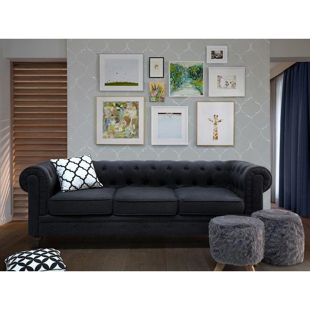 Beliani Canapé Chesterfield - couleur graphite - canapé design - Chesterfield