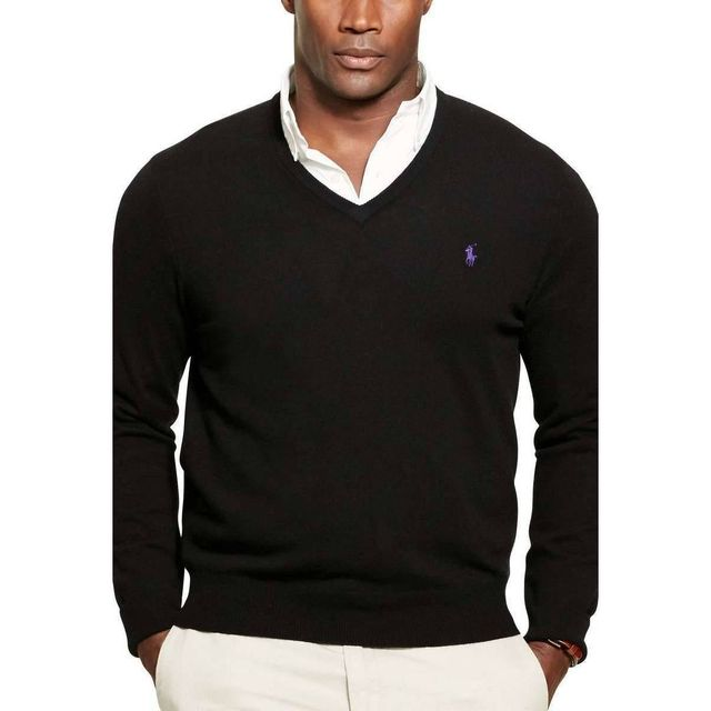 Ralph Lauren - Pull Col V Gris clair - pas cher Achat   Vente Pull homme -  RueDuCommerce 47687f44769a