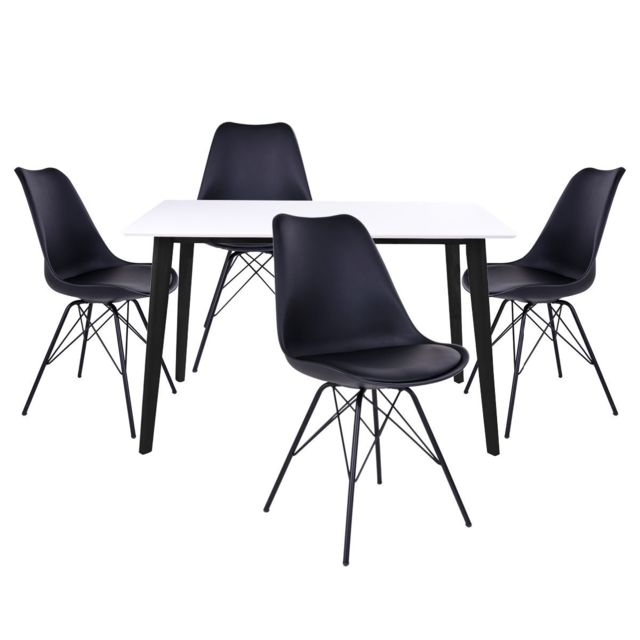 Altobuy Gram - Ensemble Table Noire et Blanche + 4 Chaises Noires