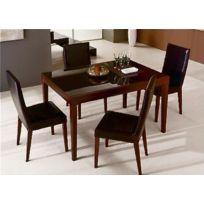 O & G - Fly bois wengue, plateau verre marron table repas extensible 130 à 230 cm