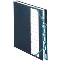 Extendos - trieur plastique + elastique 6 compartiments bleu