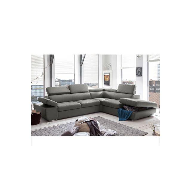 Canapé d'angle fixe avec coffre droit en Pvc gris clair Medina