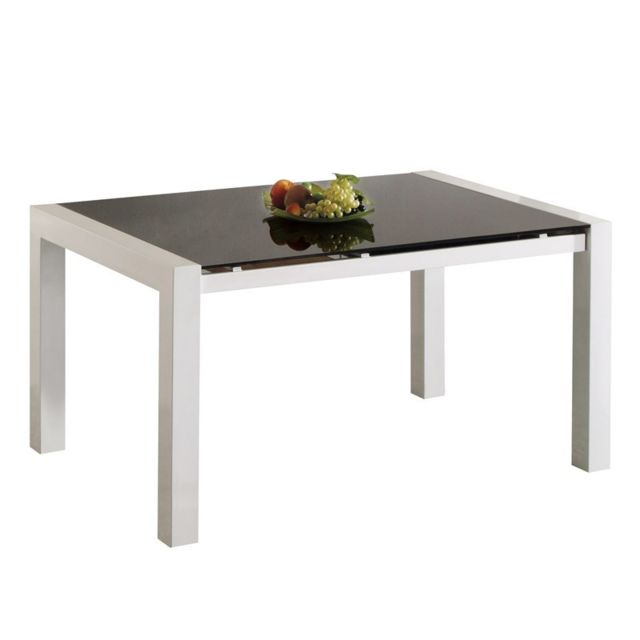Tousmesmeubles Table de repas à allonge Verre Noir - Allen - L 140 / 199 x l 90 x H 76