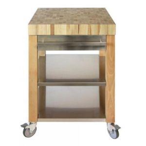 cristel table roulante billot dessus bois et fa ade recouverte d inox 40 x 40 cm cm40dbib. Black Bedroom Furniture Sets. Home Design Ideas