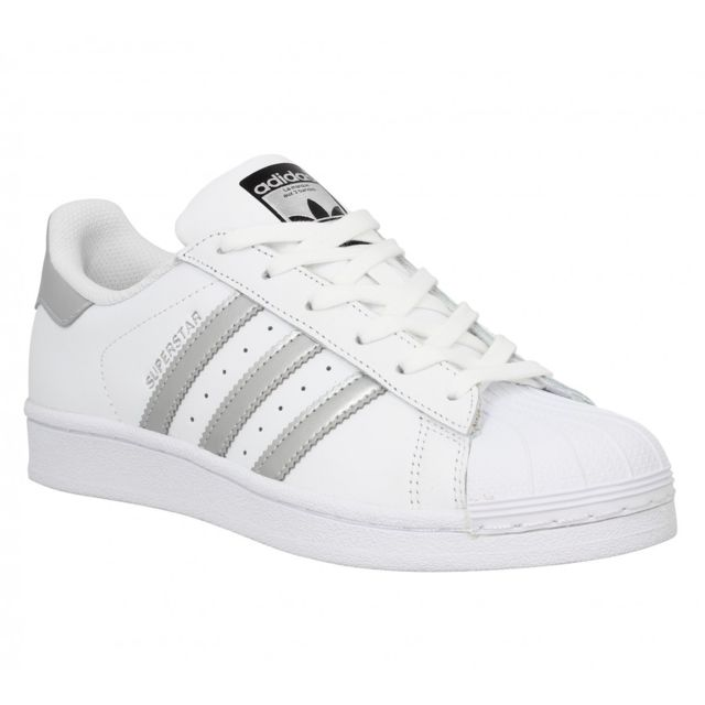superior quality 817ee 8e612 Adidas - Superstar cuir-41 1 3-Blanc Argent - pas cher Achat   Vente  Baskets femme - RueDuCommerce