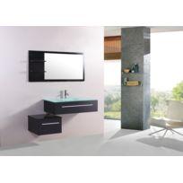 Lysea Wenge: ensemble salle de bain 2 meubles + 1 vasque + 1 mirroir