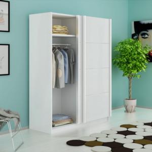 vidaxl armoire avec 2 portes coulissantes blanc mat 150. Black Bedroom Furniture Sets. Home Design Ideas