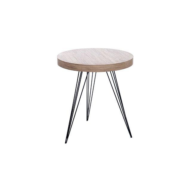 Table basse ronde 55 cm en bois et pieds métal - coloris bois