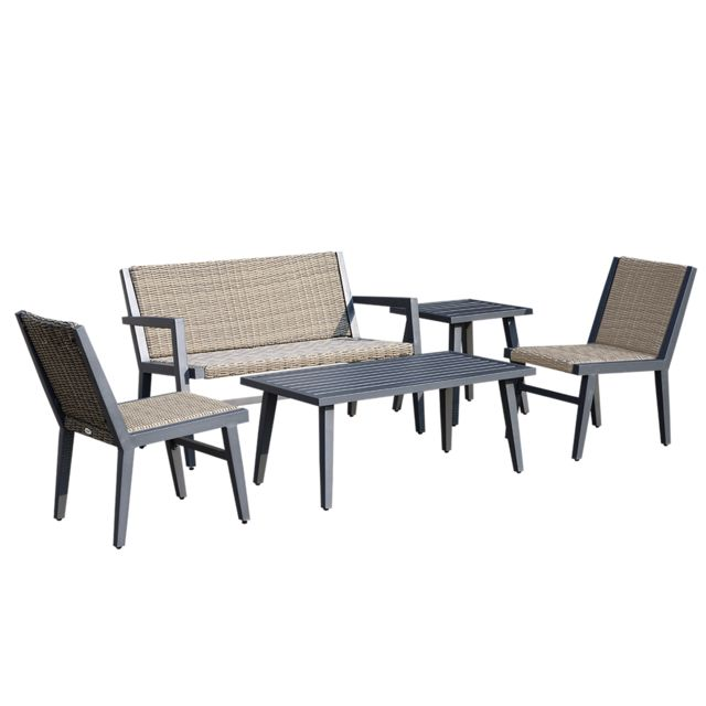 OUTSUNNY - Salon de jardin 4 pers. 5 pièces design contemporain cosy ...