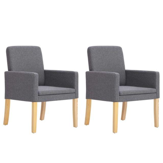 Inedit Fauteuils et chaises reference Oslo Chaises de salle à manger 2 pcs Gris clair Tissu