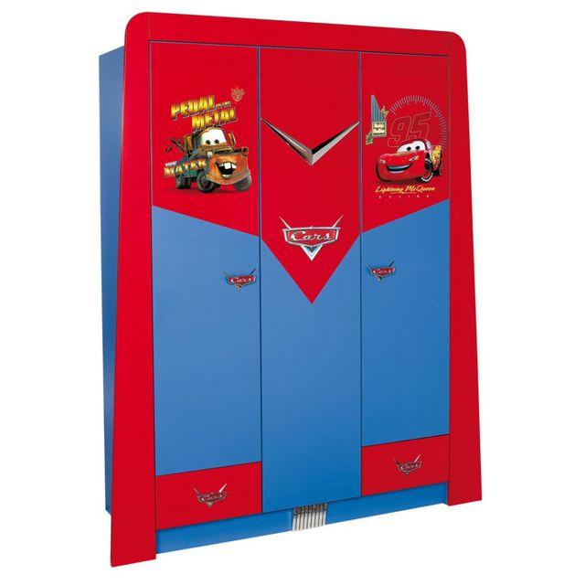 Comforium Armoire enfant à 3 portes + 2 tiroirs design cars disney coloris rouge et bleu